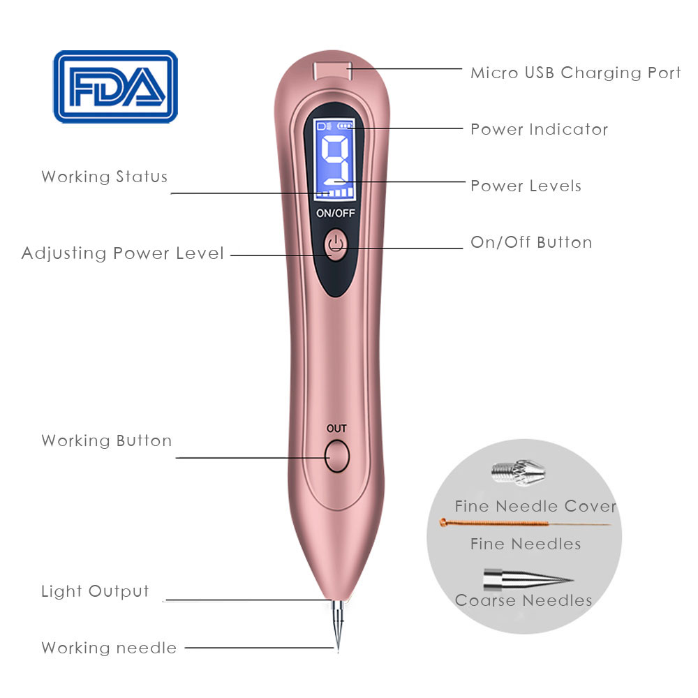 Купить с кэшбэком 2019 FDA LCD Laser Plasma Pen Mole Tattoo Remover Machine Dark Spot Pen Facial Freckle Tag Wart Removal Skin Care Machine