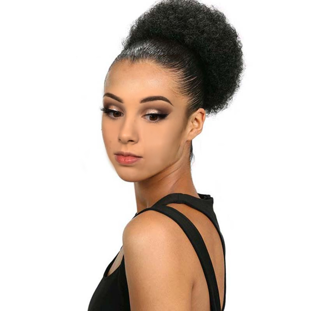 Hairpiece Bun Hair-Bun Chignon Afro Curly Drawstring Clip-In-Diameter Kinky Synthetic
