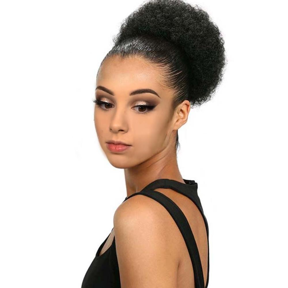Afro Crespo Encaracolado de Cabelo sintético Chignon Bun Cordão curto Hair Pieces Bun clipe de Diâmetro 10 Polegada Bun Cabelo Afro peruca