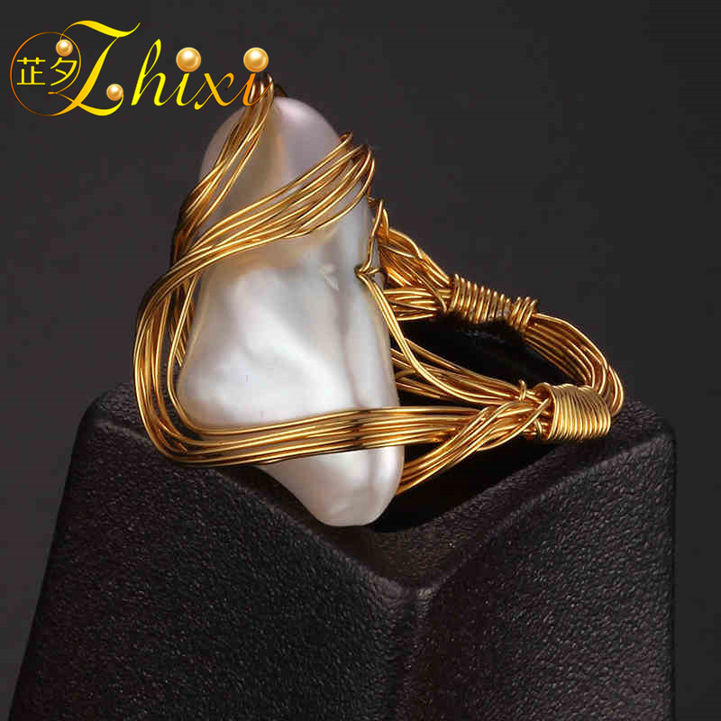 ZHIXI Freshwater Pearl Ring Fine Jewelry Maxi Baroque Natural Pearl Wedding Bands For Women Trendy Birthday Gift Box EB216J [nymph] pearl earrings for women fine jewelry maxi baroque freshwater pearl earrings 2018 trendy gift for anniversary [e320]