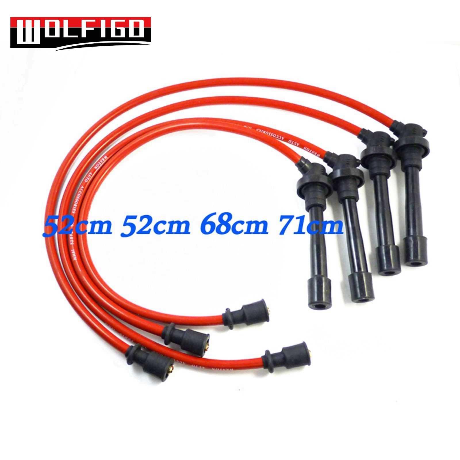 WOLFIGO Red Spark Plug Wires Set 10.2MM Silicone Fit Mitsubishi Eagle on