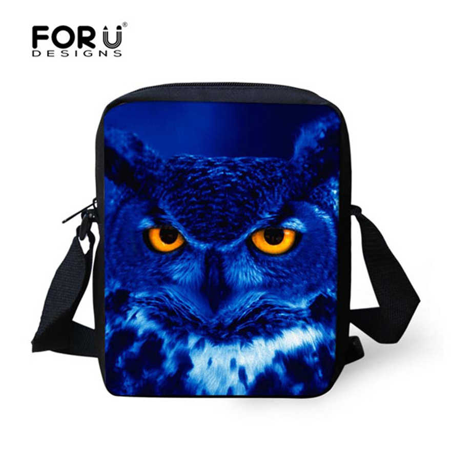 92f9f575be4d FORUDESIGNS Blue 3D Owl Printing Men Cross-body Shoulder Bag For Boys Small Messenger  Bag