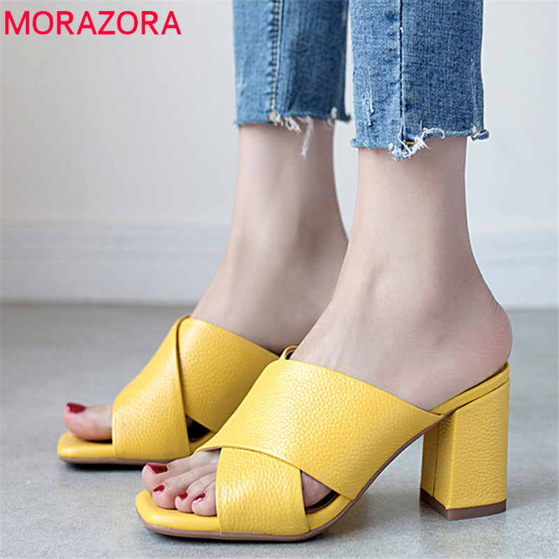 MORAZORA 2019 newest cow leather women sandals solid colors summer shoes simple comfortable high heels shoes