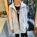 Fashion Hooded Long Trench Coat For Men Solid Casual Slim Fit Pockets Long Jacket Men Outwear Windbreaker with Hoody Manteau
