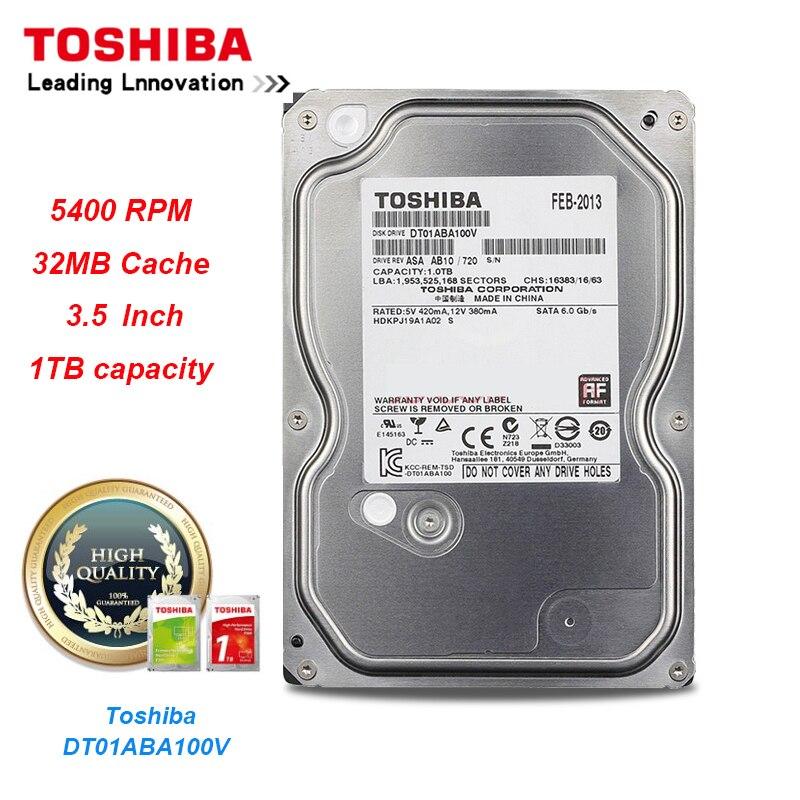 Grabadora de vídeo de vigilancia de disco duro Toshiba 1T DT01ABA100V SATA 5400RPM 32MB Cache 3,5