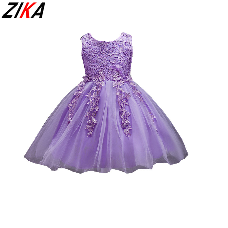 ZIKA Lace Formal Evening Wedding Gown Princess Dress 1-8T Appliques Girls Children Clothing Kids Party Dress for Girl Clothes acthink 2017 new girls formal solid lace dress shirt brand princess style long sleeve t shirts for girls children clothing mc029