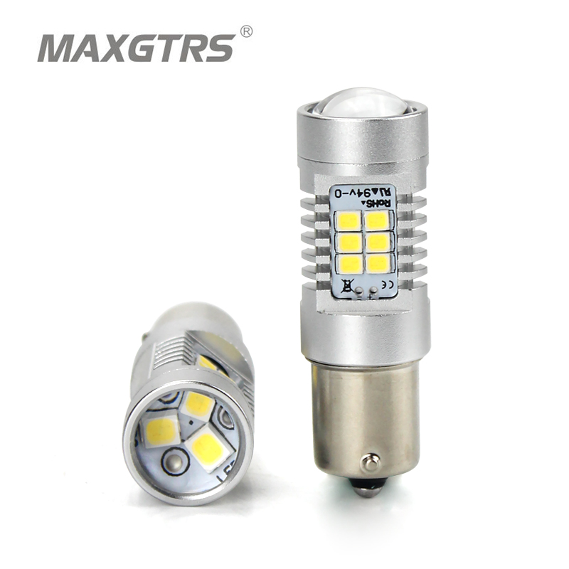 2x MAXGTRS S25 1156 BA15S White Amber Car LED P21W 21-SMD 2835 Lights Replacement Bulbs Turn Signal Tail Lamp Light Source