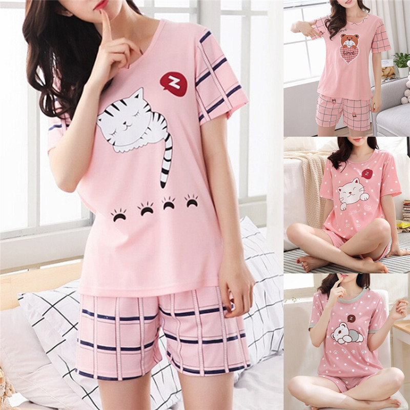 1PC Summer Young Girl Short Sleeve Cotton Pajamas For Women Cute Nightshirt Casual Home Service Short Sleepwear M-2XL