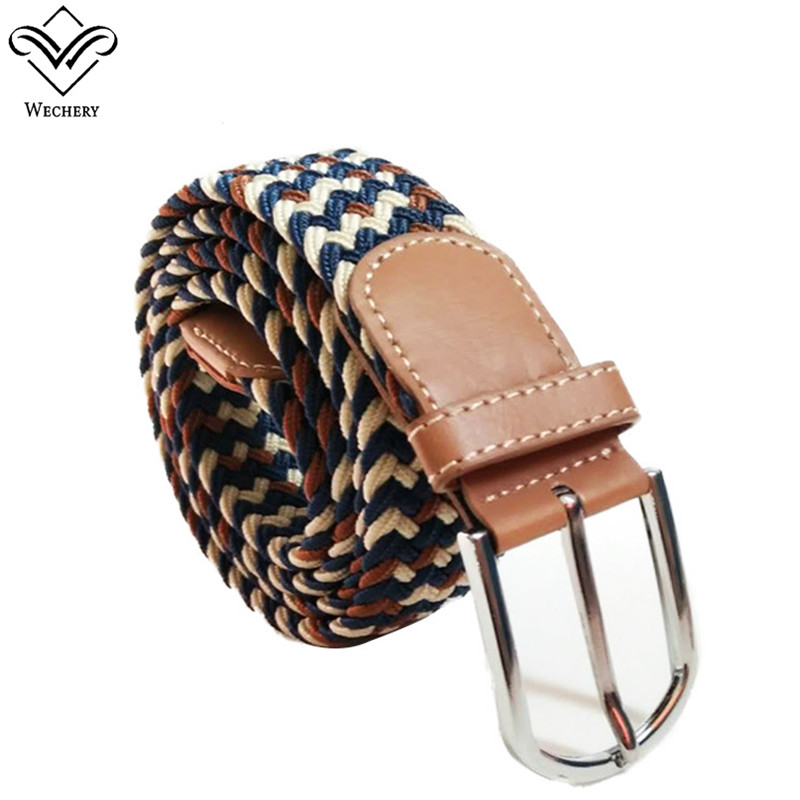 Wechery Knitted Colorful Belts Silver Metal Nylon Striped Waistbelt for Dress Pants Long Canvas Pin Buckles Waistband Straps