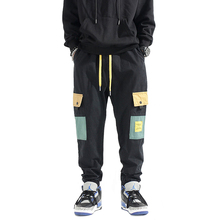 Fashion Streetwear Men Jeans Loose Fit Big Pocket Cargo Pants Slack Bottom Elastic Waist Hip Hop Joggers