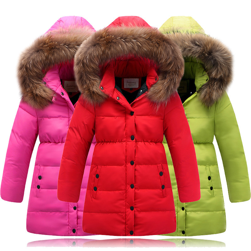 HYLKIDHUOSE Winter Girl White Duck Down Coat Female Children Long Jackets Outdoor Warm Thicken Casual Outerwear Parkas 2014 female new fashion waist thicken over knee parkas female long slim down jackets winter coat