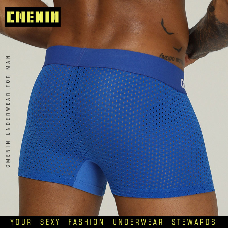 CMENIN PUMP Underwear Cueca Mesh Plus Size Solid Lingerie Boxers Panties Sexy Fat Guy