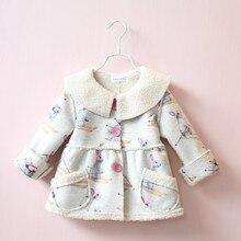 Autumn Winter Children Girls baby Cartoon Rabbit  Fleece Coats Warm Jackets 1-6 Years coat Wholesale 2016