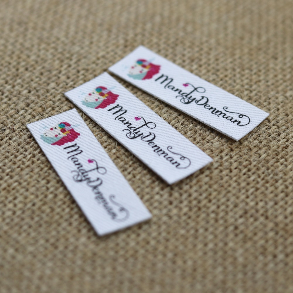 120 pieces Custom logo labels Name iron on label Custom Clothing tags Organic Cotton Labels in Garment Labels from Home Garden