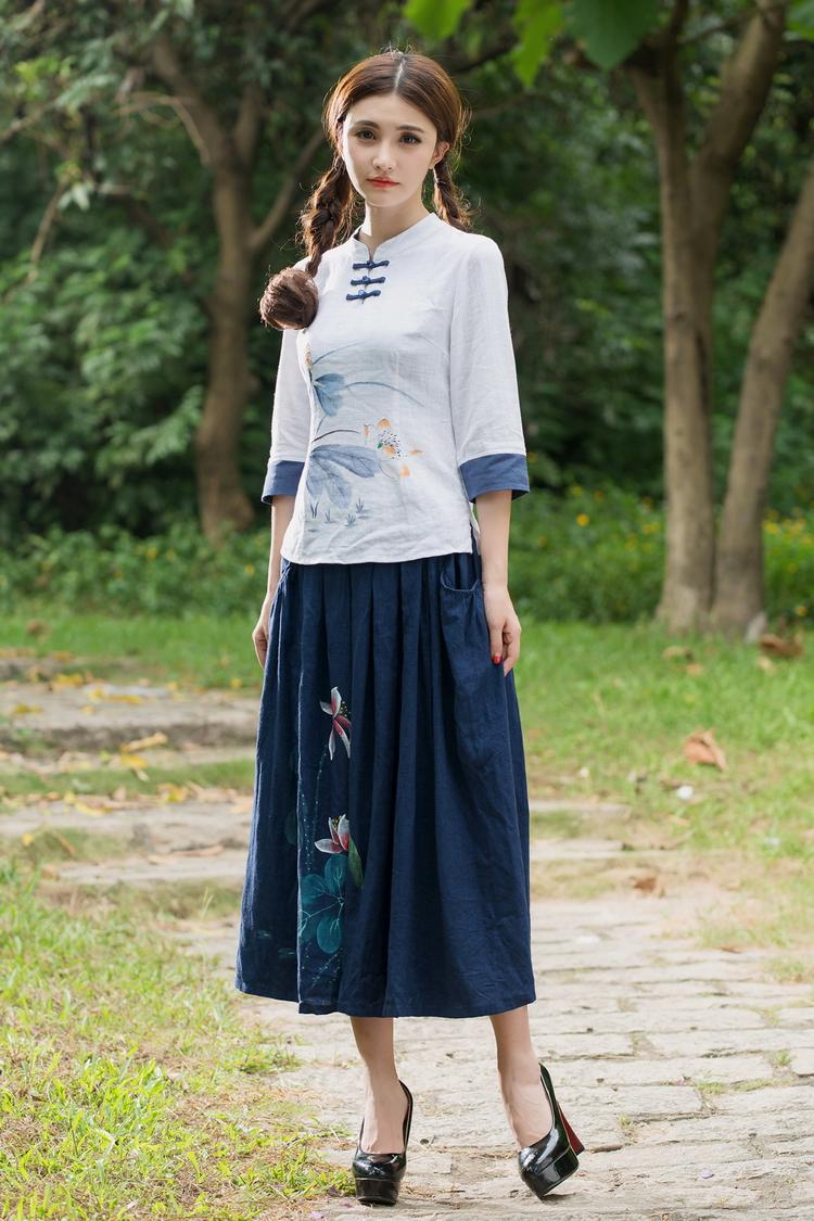 b5215fb8d5 D19645 supply wholesale literary fan autumn new Su Ma print skirt ...