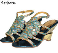 Sorbern 8CM Crystal Bohemia Rome Women S Sandals Colorful Rhinestone Bridals Shoes Wedges Shoes For Women