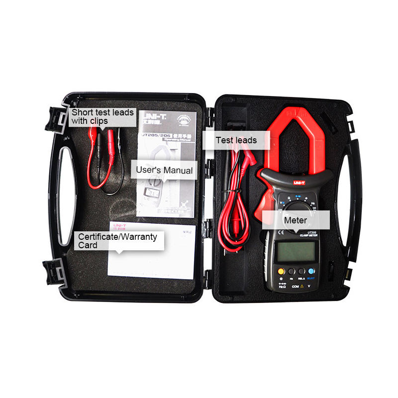 UT205 3 3/4 Digital Auto Range Digital Clamp Multimeters Capacitance1000A 600V Clamp Meter UNI-T Ammeter Voltmeter LCD Backlight new arrivals ut206 3 3 4 digital auto range current clamp multimeter capacitance 1000a 600v uni t meter with temperature china
