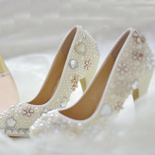 2015 Handmade White Imitation Pearl Crystal Wedding Bridal Dress Shoes Woman Party Prom Shoes Lady Round Toe Evening Club Shoes