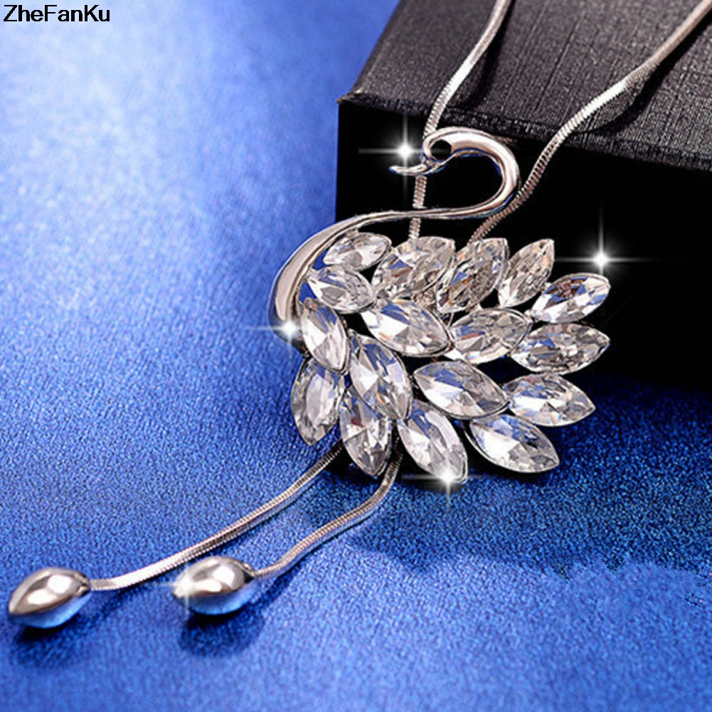 Swan Long Necklace Sweater Chain Fashion Metal Chain Crystal Flower Pendant Necklaces Adjusted