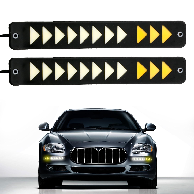 2pcs Daytime Running Light Car Auto Waterproof 12V COB Led DRL Turn Arrow Lights Fog Driving Work Lamp Car-styling