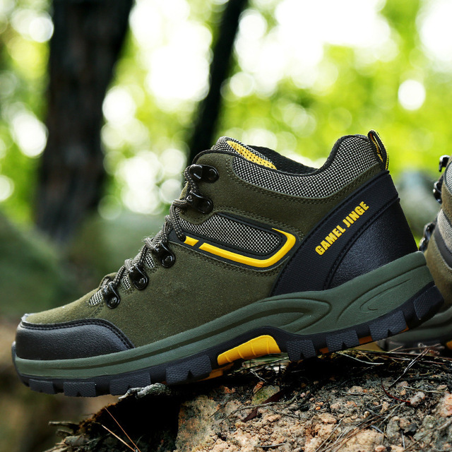 13d13b0039 Waterproof Hiking Shoes 2018 Men Leather Hiking Boots High Top Mountain  Climbing   Fishing Shoes Non-slip Outdoor Sport Shoes