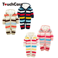 Newborn Winter Warm Thick Baby Boys Girls Jumpsuit Infant Rainbow Color Knitted Sweater Rompers Hooded Outwear Climbing Clothes