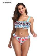 Sexy Print Bikini New Arrival 2019 Summer Beachwear Brazilian Bikinis Set Ruffle Swimwear Women Swimsuit Halter Bathing Suit недорого