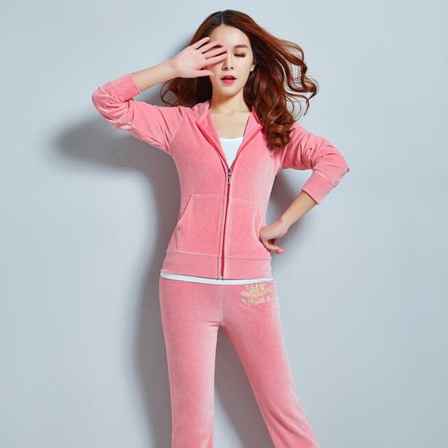 Hoodies Velour Sweatsuit Velvet Fabric Tracksuits Long Sleeve Tops