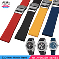 Nature Silicone Rubber 22/24mm Watch Band Stanless Steel Folding Clasp Bracelets for Breitling Avenger SUPEROCEAN Watch Strap