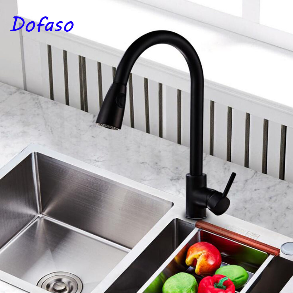 Dofaso Pull Down Kitchen Faucet oil black Dual Spouts 360 Swivel mixer kitchen tap pull out цена 2017