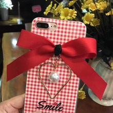 Hot Sale College Winds Plaid Bow Pendant Soft TPU+PC Cover For iphone 6 6s 7 Plus Mobile Phone Case With Pendant Tassel Coque