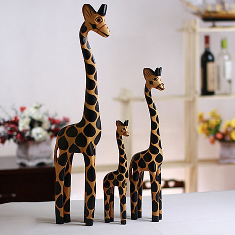3PCS/Set Wood Carving Handicraft Creative Home Furnishing Articles Giraffe Wooden Giraffe Furnishing Articles Decorations