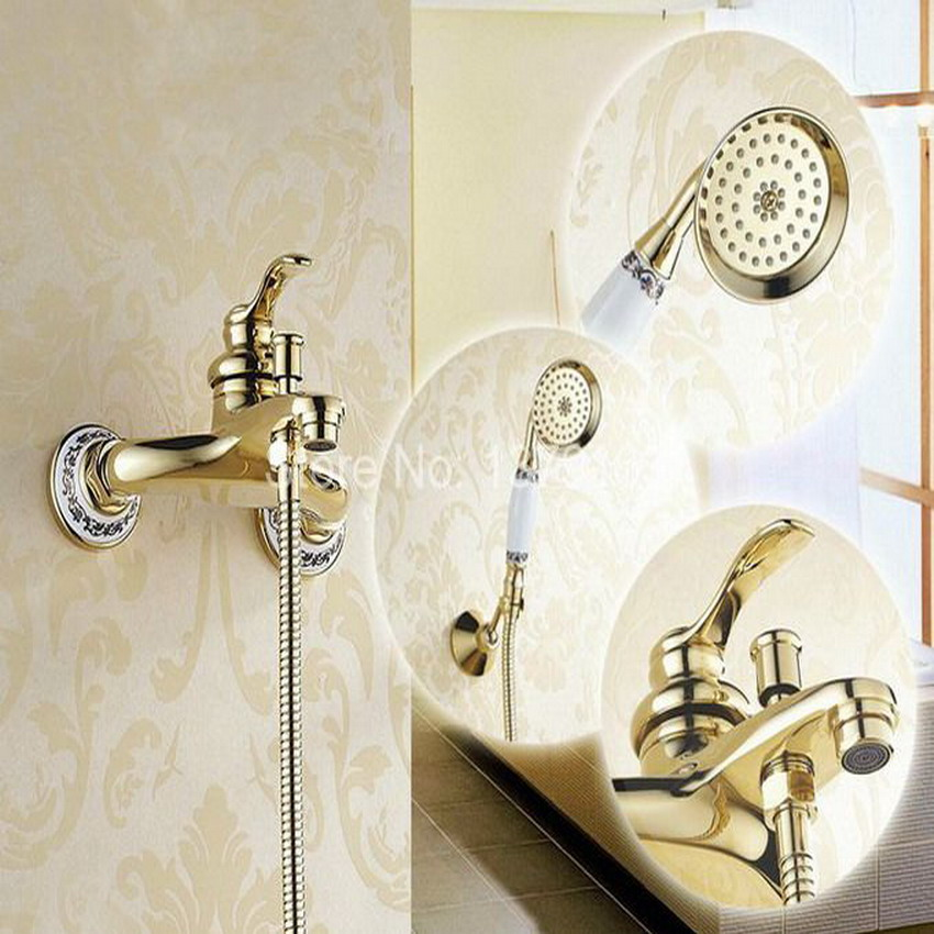 Gold Color Brass Wall Mounted Bathroom Single Handle Bathtub Faucet Tap Hand Held Shower set With Wall bracket &1.5m Hose atf404 цена
