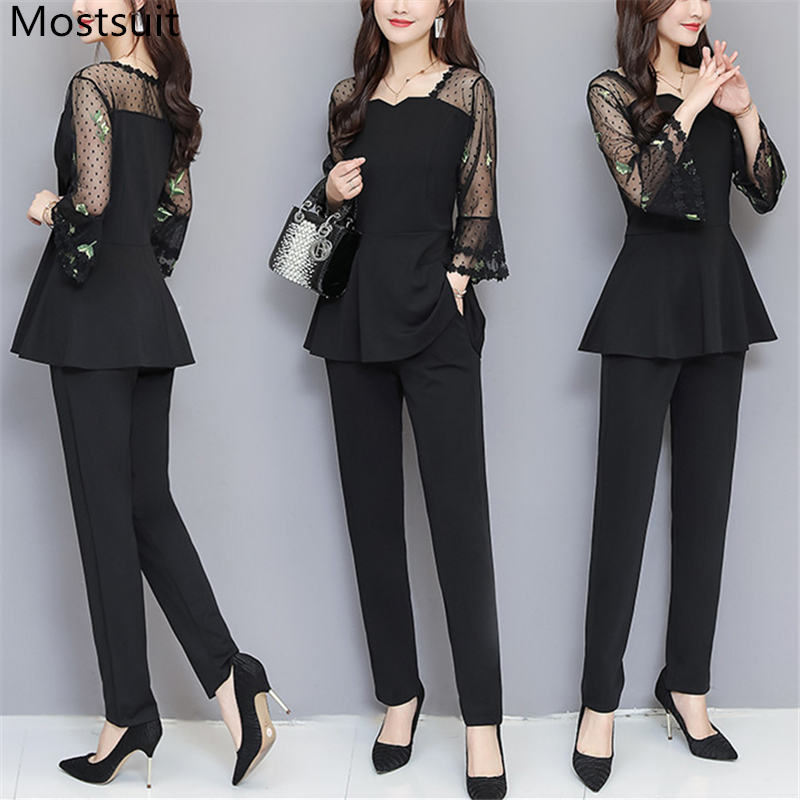 Black Mesh Embroidery Long Sleeve 2 Piece Set Women 5xl Plus Size Summer Spring Lady Office Sets Elastic Waist Pants