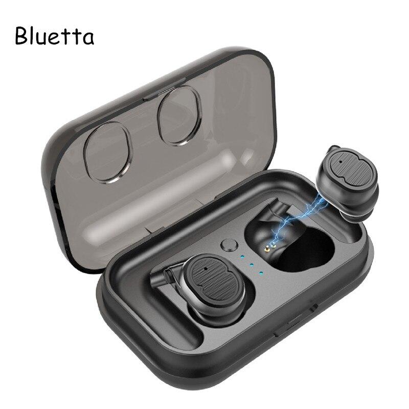 Bluetta Ture écouteurs stéréo sans fil avec Double Mic Sport Bluetooth 5.0 Toucher Contrôle écouteurs sans fil Sans Fil Casque