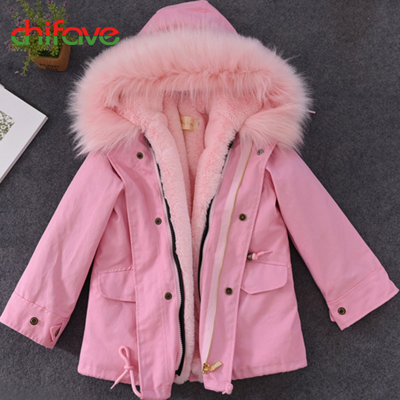 chifave New Winter Coat Baby Girls Boys Plush Liner Hooded Fur Collar Long Warm Kids Parkas Children Girls Boys Jacket Fashion 2017 new baby girls boys winter coats jacket children down outerwear warm thick outdoor kids fur collar snow proof coat parkas
