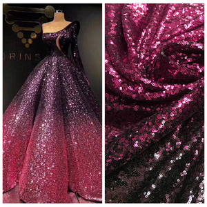 Image 1 - LASUI NEW 20 colors available 3MM encryption sequin gradient mesh lace fabric Evening dress show clothe Party dress fabric W0041