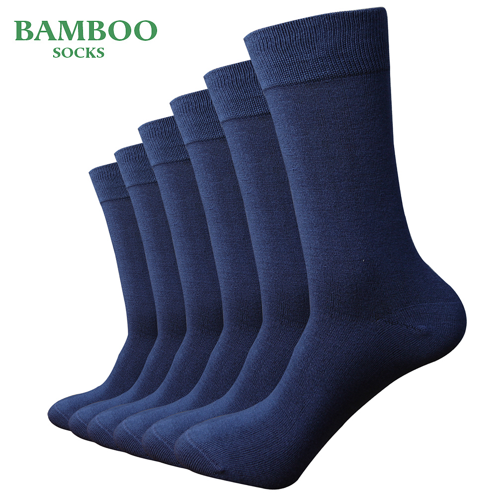 Match-Up  Men Bamboo Light Blue Socks Breathable Anti-Bacterial Man Business Dress Socks (6 Pairs/Lot)