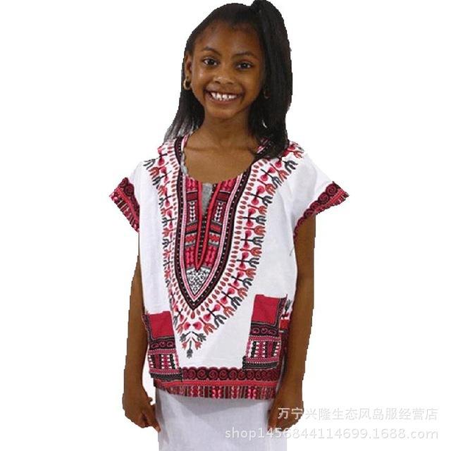 Otoño 2016 Más Vendidos Dashiki estilo Étnico Camiseta niños embroma la camisa de manga Corta de algodón de Tailandia oportunidad Real de vestuario