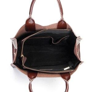Image 5 - Burminsa Soft Real Genuine Leather Handbags Ladies Large Capacity A4 Work Tote Bags Women Vintage Shoulder Crossbody Bags 2020
