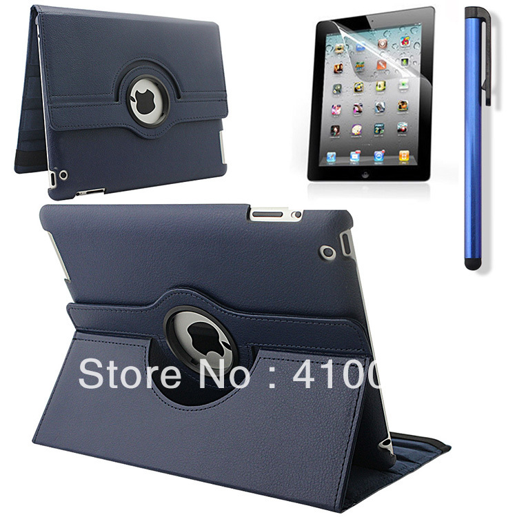 3 in 1 For Apple ipad 2 ipad 3 ipad 4 Tablet Case Rotating PU Leather Stand Flip Folio Screen Protector Cover+Stylus+screen film