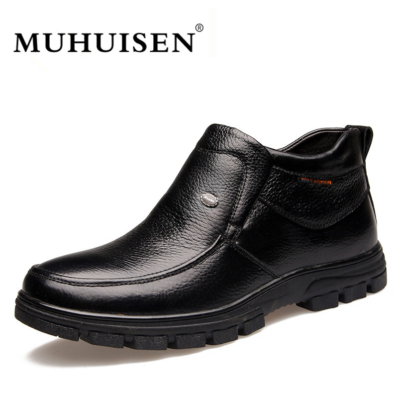 MUHUISEN Brand Genuine Leather Men Boots Winter Plush Warm Flats Shoes Soft Leather Boots Casual Ankle Snow Boots muhuisen brand winter men genuine leather shoes fashion warm working plush ankle boots casual lace up flats male snow boots