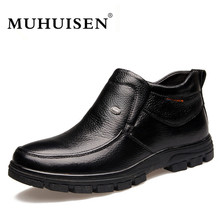Фотография MUHUISEN Brand Genuine Leather Men Boots Winter Plush Warm Flats Shoes Soft Leather Boots Casual Ankle Snow Boots