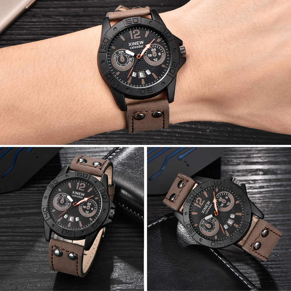 Men's Fashion Leather Stainless Steel Sport Analog Quartz Wrist Watch Waterproof relgio masculino dress  watches strap