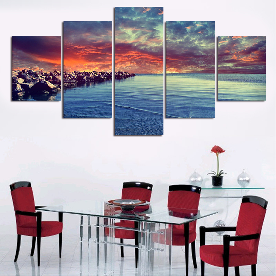 2017 Hot Sale 5 Piece Modern Home Wall Decor Canvas Water And Clouds Stone Picture Art Print Painting On Artworks