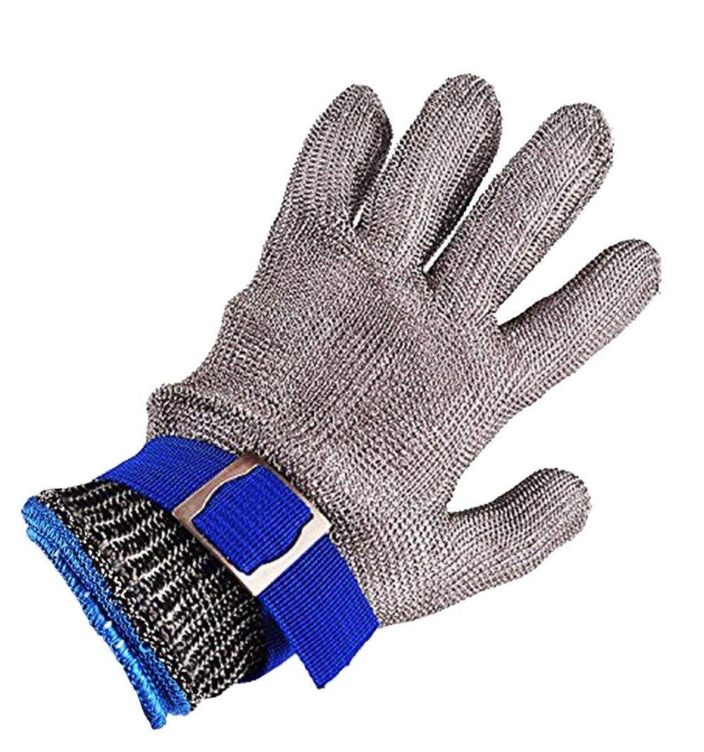 Safety Cut Proof Stab Resistant Stainless Steel Metal Mesh Butcher Gloves Size L High Performance Level 5 Protection