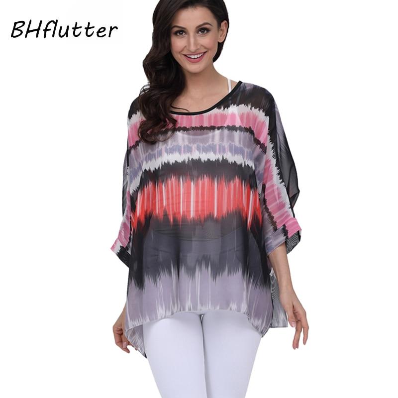 BHflutter Women   Blouses   Tops New Style 2018 4XL Plus Size Women Clothing Summer   Blouse     Shirt   Casual Chiffon   Shirts   Chemise Femme