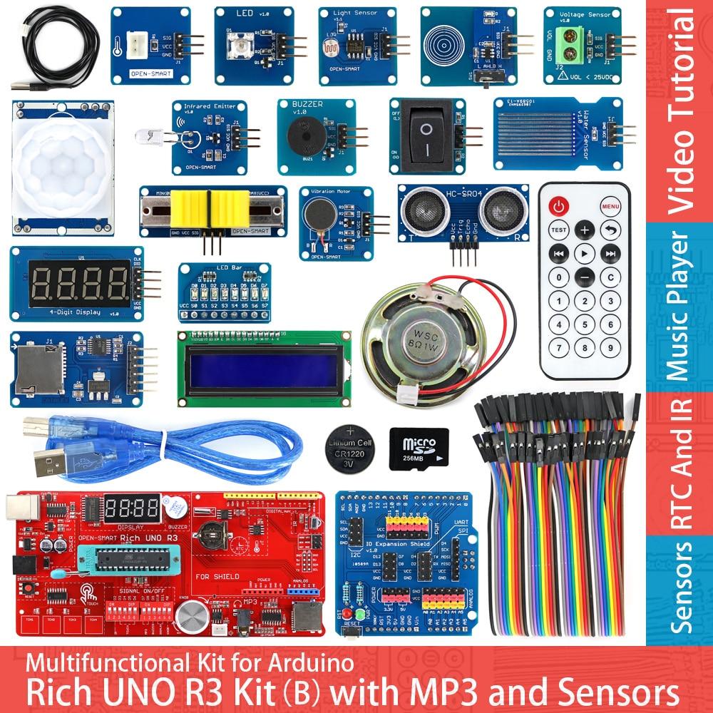Rich UNO R3 Atmega328P Development Board Sensor Module Starter Kit for Arduino with IO Shield MP3 DS1307 RTC Temperature Sensor free shipping hot sales rotary encoder module brick sensor development board for arduino