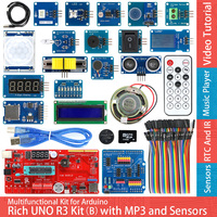 Rich UNO R3 Atmega328P Development Board Sensor Module Kit For Arduino With IO Shield MP3 DS1307