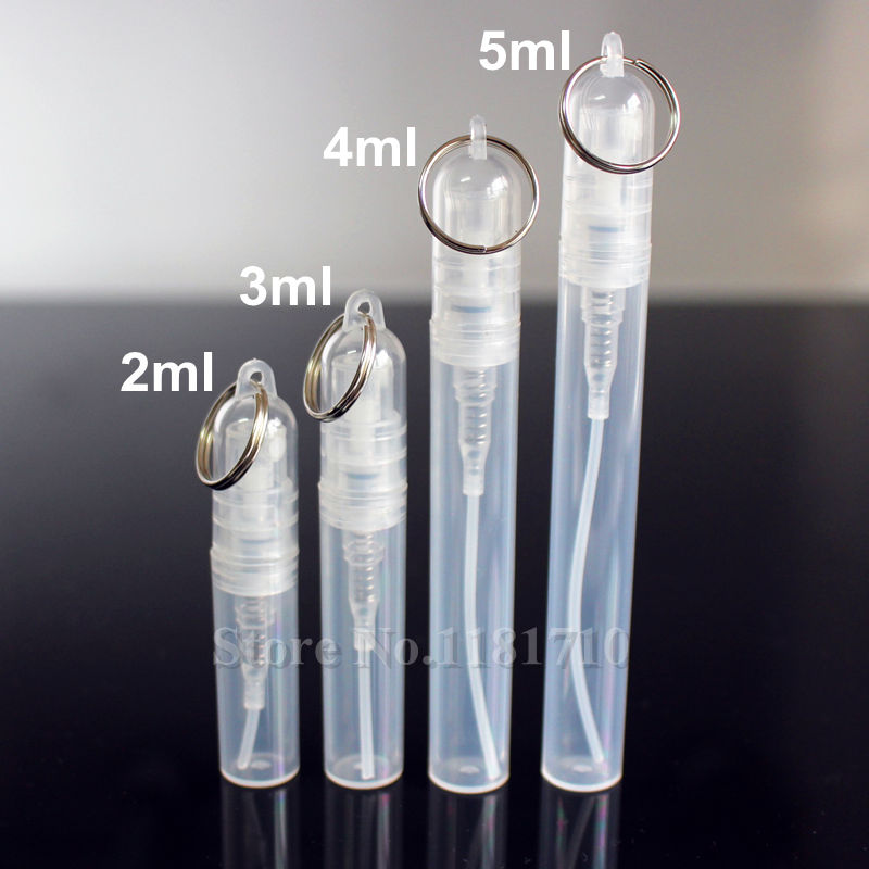 50pcs/lot 2ml/3ml/4ml/5ml Plastic Perfume Spray Bottle Perfume Atomizer With Keychain Ring Cosmetic Sample Test Bottle Promotion